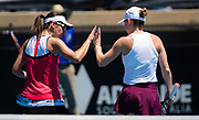 Raluca Olaru & Simona Halep of Romania playing doubles at the 2020 Adelaide International WTA Premier tennis tournament Photo Rob Prange / Spain ProSportsImages / DPPI / ProSportsImages / DPPI