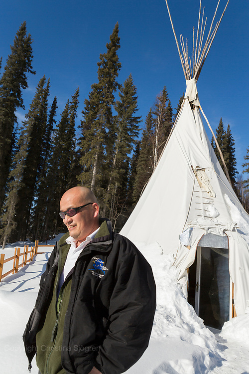 Permafrost scientist Kenji Yoshikawa and his tipi outside Fairbanks. Alaska, USA