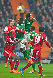 01.03.2014, Weserstadion, Bremen, GER, 1. FBL, SV Werder Bremen vs Hamburger SV, 23. Runde, im Bild Santiago Garcia (SV Werder Bremen #2), Assani Lukimya (Bremen #5) steigen zum Koppfball hoch // Santiago Garcia (SV Werder Bremen #2), Assani Lukimya (Bremen #5) steigen zum Koppfball hoch during the German Bundesliga 23th round match between SV Werder Bremen and Hamburger SV at the Weserstadion in Bremen, Germany on 2014/03/02. EXPA Pictures © 2014, PhotoCredit: EXPA/ Andreas Gumz<br /> <br /> *****ATTENTION - OUT of GER*****