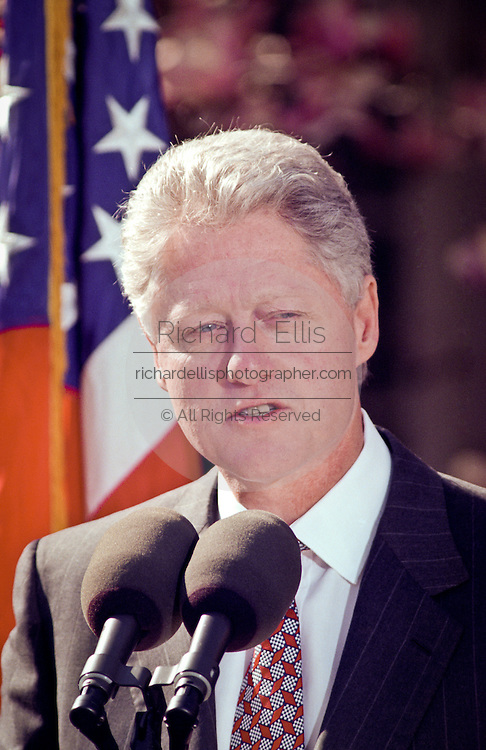 US President Bill Clinton makes a statement on Social Security reform March 30, 1999 at the White House in Washington D.C.