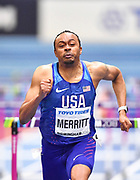 Aries Merritt (USA) runs for the line in his Semi Final of the Men's 60m Hurdles in a time of 7.60 during the final session of the IAAF World Indoor Championships at Arena Birmingham in Birmingham, United Kingdom on Saturday, Mar 2, 2018. (Steve Flynn/Image of Sport)