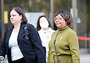 The mother of  Richard Hinds, the man accused of killing Irishwoman Nicola Furlng, and forensics expert Marianne Hamel leave the Tokyo District Court at the end of the fourth day of proceedings  in his trial in Tokyo, Japan on 07 March 2013. Photographer: Robert Gilhooly