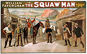 William Faversham in The squaw man c1905. theatre (poster) lithograph depicting Cowboys in a theatre poster.