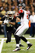 NEW ORLEANS, LA - NOVEMBER 11:  Matt Ryan #2 of the Atlanta Falcons looks downfield for a receiver against the New Orleans Saints at Mercedes-Benz Superdome on November 11, 2012 in New Orleans, Louisiana.  The Saints defeated the Falcons 31-27.  (Photo by Wesley Hitt/Getty Images) *** Local Caption *** Matt Ryan