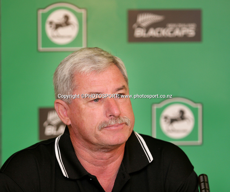 Sir Richard Hadlee after announcing his last team list, as he steps down from his position as selection panel manager for the Blackcaps. Announcement of the Blackcaps Test and ODI Squad for the tour to England. New Zealand Cricket offices, Christchurch. Saturday 5 April 2008. Photo: Joseph Johnson/PHOTOSPORT