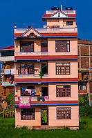 Apartment buildings, Bhaktapur, Kathmandu Valley, Nepal.