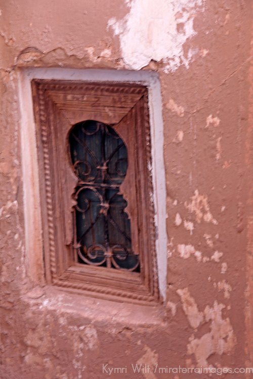 Africa, Morocco, Ouarzazate. Window detail of Taourirt Kasbah near Ouarzazate,  historical palace partially restored by UNESCO.
