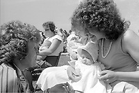 Judging the Baby Show at the 99th Yorkshire Miners Gala. 1986 Doncaster.