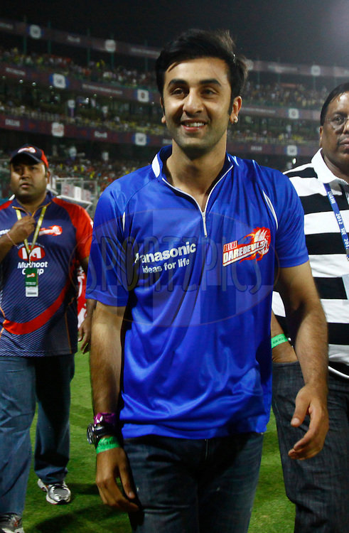 Indian actor Ranbir Kapoor during match 64 of the the Indian Premier League ( IPL) 2012  between The Delhi Daredevils and the Kings XI Punjab held at the Feroz Shah Kotla, Delhi on the 15th May 2012..Photo by Pankaj Nangia/IPL/SPORTZPICS