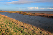 Rapid erosion of shingle bay bar landform on North Sea coast, Hollesley Bay, Bawdsey, Suffolk, England, UK