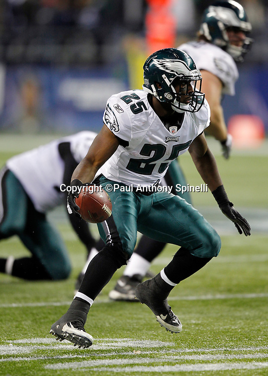 Philadelphia Eagles running back LeSean McCoy (25) runs the ball during the NFL week 13 football game against the Seattle Seahawks on Thursday, December 1, 2011 in Seattle, Washington. The Seahawks won the game 31-14. ©Paul Anthony Spinelli