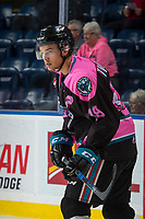 KELOWNA, CANADA - OCTOBER 21: Carsen Twarynski #18 of the Kelowna Rockets warms up against the Portland Winterhawks on October 21, 2017 at Prospera Place in Kelowna, British Columbia, Canada.  (Photo by Marissa Baecker/Shoot the Breeze)  *** Local Caption ***