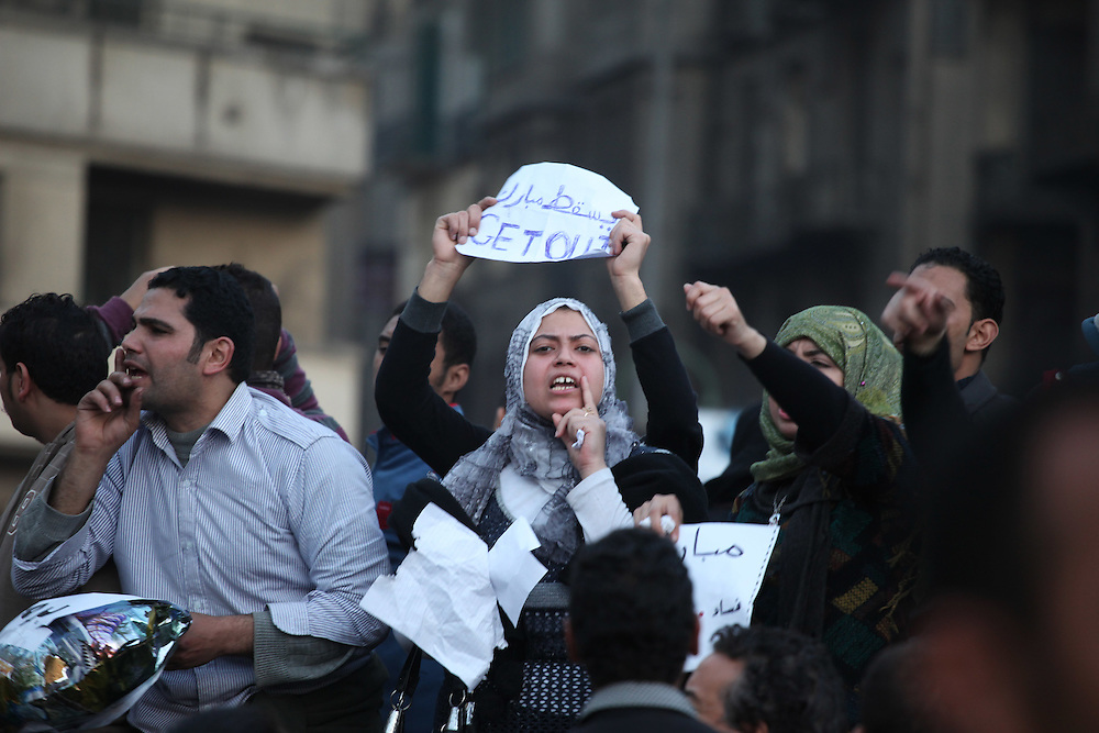 Protesters at Tahrir Square in Cairo on 29 January call for the ouster of President Hosni Mubarak.