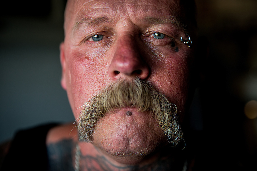 STOCKTON, CA - JULY 27, 2015:  Joseph Harmon poses for a portrait in his garage. Harmon spent eight years in solitary confinement at Pelican Bay State Prison. CREDIT: Max Whittaker for The New York Times