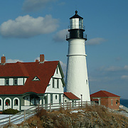 Image made in Cape Elizabeth Maine at Portland Head Light or South Portland Maine at Spring Point Ledge Lighthouse.  Photo by Roger S. Duncan.