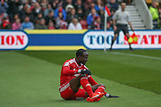Middlesbrough midfielder Albert Adomah (27)  reflects missing a header during the Sky Bet Championship match between Middlesbrough and Ipswich Town at the Riverside Stadium, Middlesbrough, England on 23 April 2016. Photo by Simon Davies.