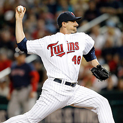 February 27, 2011; Fort Myers, FL, USA; Minnesota Twins starting pitcher Carl Pavano (48) during a spring training exhibition game against the Boston Red Sox at Hammond Stadium.  Mandatory Credit: Derick E. Hingle