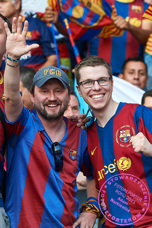 (L) Michal Zawada supporter of Barcelona during the 2014/15 UEFA Champions League Final between Juventus and FC Barcelona at Olympiastadion on June 6, 2015 in Berlin, Germany.<br /> Germany, Berlin, June 6, 2015<br /> <br /> Picture also available in RAW (NEF) or TIFF format on special request.<br /> <br /> For editorial use only. Any commercial or promotional use requires permission.<br /> <br /> Adam Nurkiewicz declares that he has no rights to the image of people at the photographs of his authorship.<br /> <br /> Mandatory credit:<br /> Photo by &copy; Adam Nurkiewicz / Mediasport