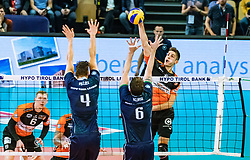 17.04.2019, Olympiahalle Innsbruck, Innsbruck, AUT, VBL, Deutsche Volleyball Bundesliga, HYPO Tirol Alpenvolleys Haching vs Berlin Recycling Volleys, Halbfinale, 3. Spiel, im Bild v.l.: Sergei Grankin (Berlin), Matthew Pollock (Tirol), Danilo Gelinski (Tirol), Moritz Reichert (Berlin) // during the German Volleyball Bundesliga (VBL) 3rd semifinal match between HYPO Tirol Alpenvolleys Haching and Berlin Recycling Volleys at the Olympiahalle Innsbruck in Innsbruck, Austria on 2019/04/17. EXPA Pictures © 2019, PhotoCredit: EXPA/ JFK