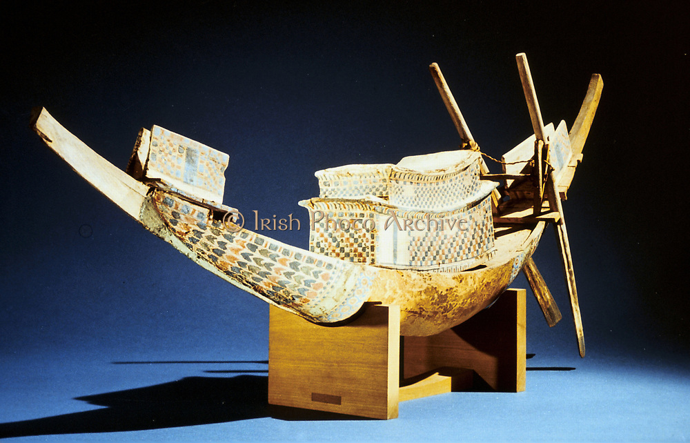 Treasure of Tutankhamun (dc1340 BC): Model of boat. Cairo Museum, Egypt