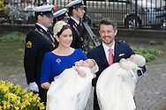 14.04.11. Copenhagen, Denmark..Princess Mary, Prince Frederik,Prince Vincent and Princes Josefine leaves the Holmens Church after christening ceremony..Photo: Ricardo Ramirez