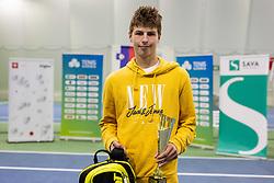Second placed Aljaz Jeran  at trophy ceremony after final match during Slovenian National Tennis Championship 2019, on December 21, 2019 in Medvode, Slovenia. Photo by Vid Ponikvar/ Sportida