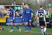AFC Wimbledon striker Joe Pigott (39) appealing during the EFL Sky Bet League 1 match between AFC Wimbledon and Gillingham at the Cherry Red Records Stadium, Kingston, England on 23 March 2019.