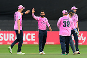 Wicket - Mohammad Hafeez of Middlesex celebrates taking the wicket of Tom Banton of Somerset during the Vitality T20 Blast South Group match between Somerset County Cricket Club and Middlesex County Cricket Club at the Cooper Associates County Ground, Taunton, United Kingdom on 30 August 2019.