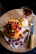 Buttermilk Waffles with Crispy Bacon & Spiced Maple Syrup shot on location at Jo'Anna Melt Bar in Melville, Johannesburg for the September Issue of Food & Home Entertaining Magazine.
