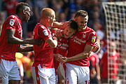 Joe Lolley (23) scores a goal and celebrates during the EFL Sky Bet Championship match between Nottingham Forest and Birmingham City at the City Ground, Nottingham, England on 17 August 2019.