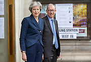UNITED KINGDOM, London: 3 May 2018 British Prime Minister Theresa May and her husband Philip May stand outside of the polling station at the Methodist Central Hall in Westminster this morning after casting their vote for the local elections in 150 local authorities. Rick Findler / Story Picture Agency