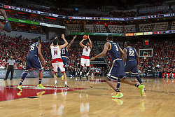 Louisville guard/forward Wayne Blackshear makes a three point basket in the first half. <br /> <br /> The University of Louisville hosted the Notre Dame, Wednesday, March 04, 2015 at Yum Center in Louisville. <br /> <br /> Photo by Jonathan Palmer