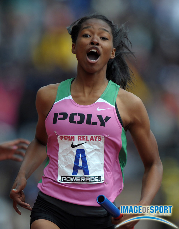 Apr 27, 2012; Philadelphia, PA, USA; Ariana Washington reacts after anchoring the Long Beach Poly girls 4 x 100m relay team to victory in the Championship of America in 46.35 to become the first U.S. school to repeat as champion in the 118th Penn Relays at Franklin Field.