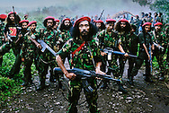 Falintil Commander Cornelio Gama, with some of his guerrilla force. <br />