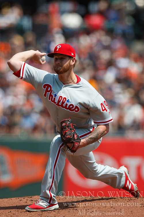 SAN FRANCISCO, CA - AUGUST 20: Ben Lively #49 of the Philadelphia Phillies pitches against the San Francisco Giants during the first inning at AT&T Park on August 20, 2017 in San Francisco, California. The Philadelphia Phillies defeated the San Francisco Giants 5-2. (Photo by Jason O. Watson/Getty Images) *** Local Caption *** Ben Lively