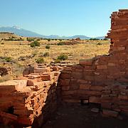 Lomaki Pueblo with San Francisco Peaks in the background - Wupatki National Monument, AZ