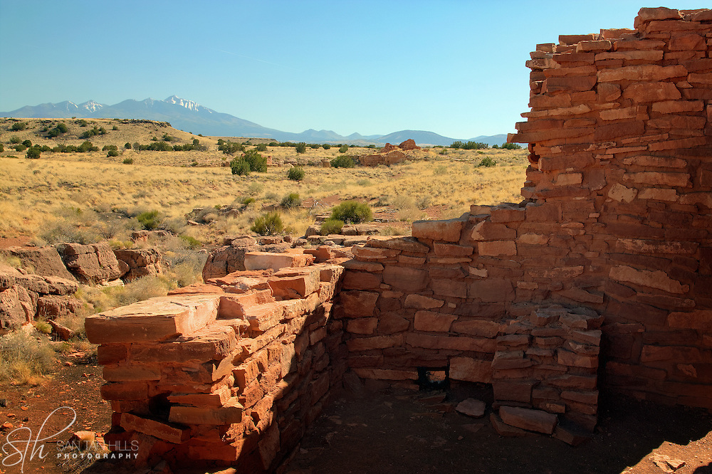 Lomaki Pueblo with San Francisco Peaks in the background - Wupatki National Monument, AZ