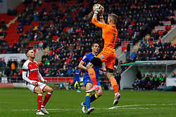 George Long of AFC Wimbledon makes a jumping catch to break down a dangerous Rotherham United attack - Mandatory by-line: Ryan Crockett/JMP - 03/02/2018 - FOOTBALL - Aesseal New York Stadium - Rotherham, England - Rotherham United v AFC Wimbledon - Sky Bet League One