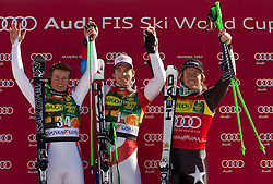 Second placed Alexis Pinturault of France, winner Carlo Janka of Switzerland and third placed Ted Ligety of USA at flower ceremony after the Men's Giant Slalom of FIS Ski World Cup Alpine Kranjska Gora, on March 5, 2011 in Vitranc/Podkoren, Kranjska Gora, Slovenia.  (Photo By Vid Ponikvar / Sportida.com)