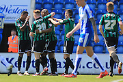 Calvin Andrew celebrations 1-2 during the Sky Bet League 1 match between Colchester United and Rochdale at the Weston Homes Community Stadium, Colchester, England on 8 May 2016. Photo by Daniel Youngs.