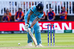 Ben Stokes of England digs out a yorker from James Neesham of New Zealand - Mandatory by-line: Robbie Stephenson/JMP - 14/07/2019 - CRICKET - Lords - London, England - England v New Zealand - ICC Cricket World Cup 2019 - Final