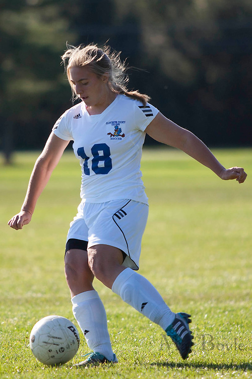 Gloucester County College Freshman Defender / Midfielder Julie Palmisano (18)..Gloucester County College defeats Middlesex County College 1-0 in a NJCAA Region XIX Semi-Final at Gloucester County College in Sewell, NJ on Tuesday, October 25, 2011.