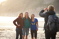 Group of women surfing at Oswald West State Park, OR.