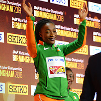 Murielle Ahoure and Josee Marie Ta Lou win gold and silver in the women's 60m at the IAAF 2018 indoor world championships