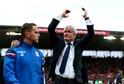 Stoke City manager Mark Hughes celebrates the victory over Arsenal - Mandatory by-line: Robbie Stephenson/JMP - 19/08/2017 - FOOTBALL - Bet365 Stadium - Stoke-on-Trent, England - Stoke City v Arsenal - Premier League