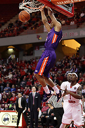 15 January 2016: Jaylon Brown(3) finishes off a dunk during the Illinois State Redbirds v Evansville Purple Aces at Redbird Arena in Normal Illinois (Photo by Alan Look)