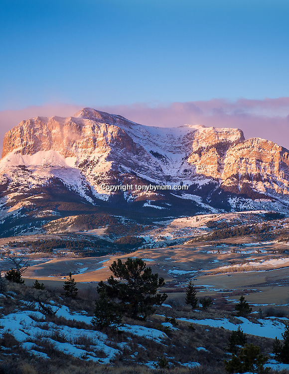 morning sunrise against the rocky mountain front montana