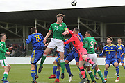Nathan Collins of Republic of Ireland (5) and Luka Kacavenda of Bosnia and Herzegovina (1) challenge for the ball during the UEFA European Under 17 Championship 2018 match between Bosnia and Republic of Ireland at Stadion Bilino Polje, Zenica, Bosnia and Herzegovina on 11 May 2018. Picture by Mick Haynes.