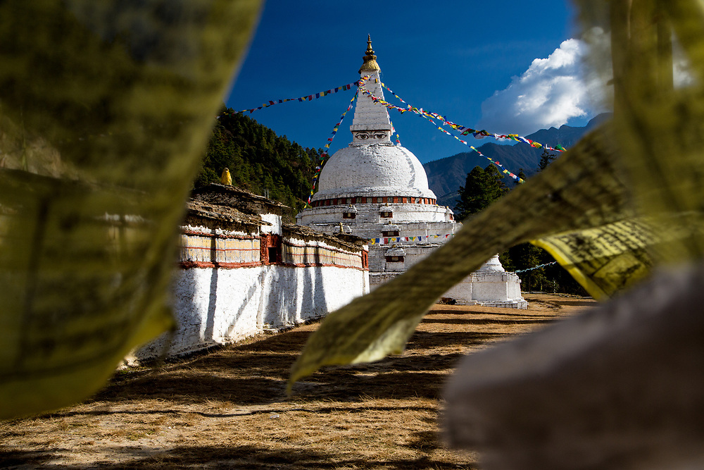 Prayer flags at a stupa in Bhutan