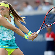 2017 U.S. Open - August 28. DAY ONE. Aleksandra Krunic of Serbia in action against Johanna Konta of Great Britain during the Women's Singles round one match at the US Open Tennis Tournament at the USTA Billie Jean King National Tennis Center on August 28, 2017 in Flushing, Queens, New York City.  (Photo by Tim Clayton/Corbis via Getty Images)